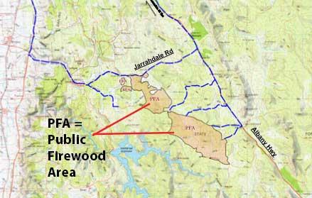 Public firewood Area map Jarrahdale